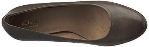 Clarks - Zapatos de tacón de cuero para mujer marrón oscuro