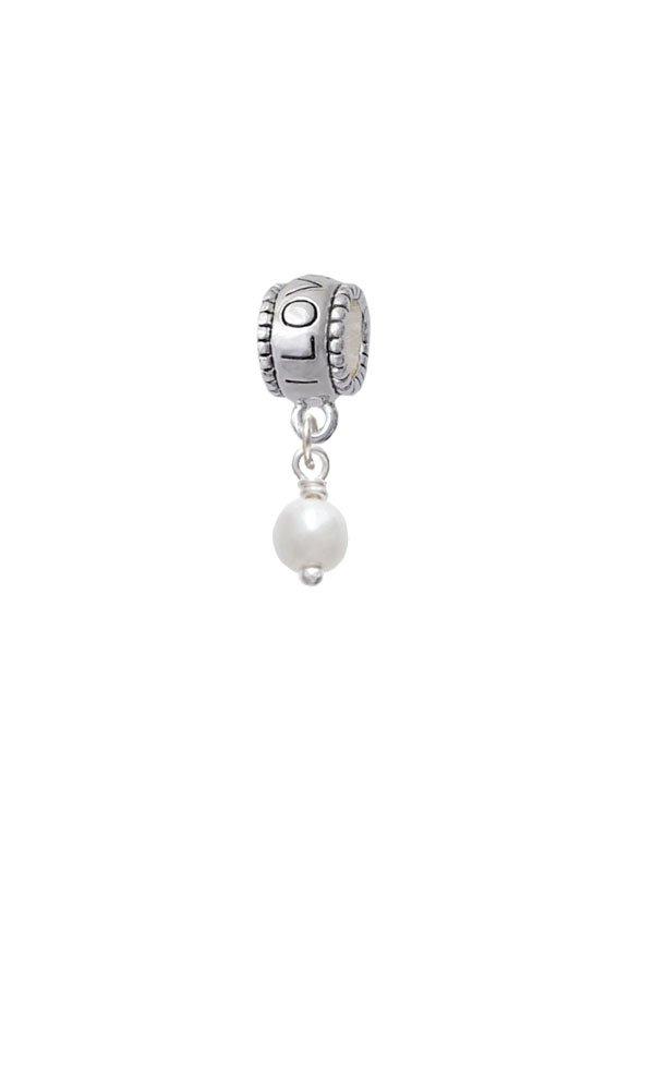 Silvertone 6mm Glass Imitation Pearl Bead Drop - I Love You Charm Bead