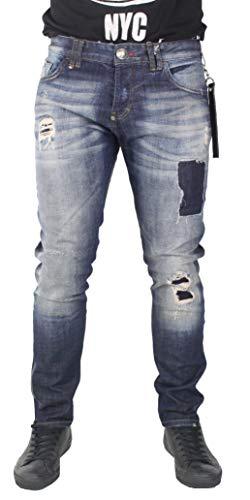 e62042a7dc0 PHILIPP PLEIN - Men s Jeans Super Straight Cut Mercury - Blue