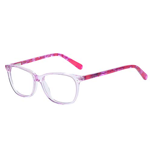 Children Teens Smart Cute Looks Kids Glasses Pink Square Eyewear Frame with Clear Lens for Girls(Age 5-12) ()