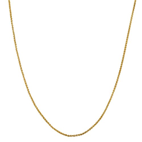 Kooljewelry 14k Yellow Gold Filled Wheat Chain Necklace (1 mm, 16 inch)
