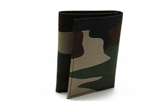 Men's Camouflage Tri-fold Wallet Army Military Canvas Top Leather in Gift Box (Camouflage Leather Tri Fold)