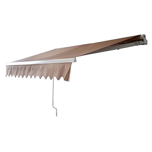 Frame 10ft Aluminum (MCombo 13x8 10x8 12x10 Ft Manual Retractable Patio Deck Awning Sunshade Shelter Outdoor Canopy Brown (12x10 FT, Brown))