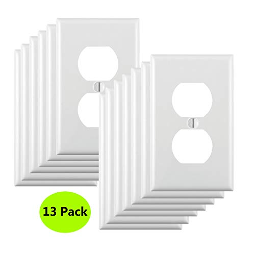 JustFast Pack of 13, Duplex Receptacle Outlet Wall Plates, Standard Size,Impact Resistance, Anti Aging and High Temperature Resistance PC Face Plates,White