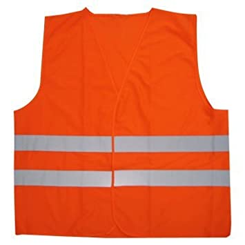 Fluorescent Orange Reflective Road Construction Safety Vest One Size Fits All By Jed Mart