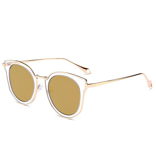 ThyWay New fashion sunglasses transparent circle color film reflective sunglasses female trend sunglasses (GOLD, - Sunglasses New Trend