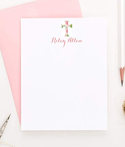 (Personalized Watercolor Stationery, Cross Stationery Set, Baptism Thank You Cards, Set of 10 flat note cards, Your choice of Colors and)