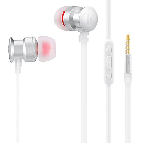 (TOMANTEK TK-EM270 Earphones Headphones, High Definition, in-Ear, Tangle Free, Noise Isolating with Microphone, Volume Control & 3.5mm Cable, Silver)