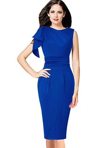 VFSHOW Womens Celebrity Elegant Blue Ruffle Ruched Cocktail Party Bodycon Sheath Dress 2287 BLU L