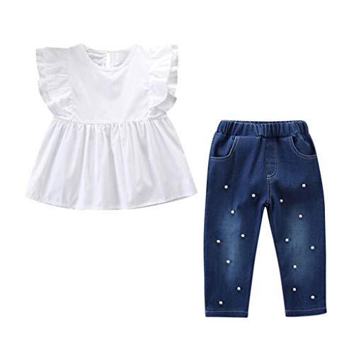 (Rakkiss Girls Solid Outfits Set Ruffles Shirt Denim Tops Jeans Vest Jumpsuit)
