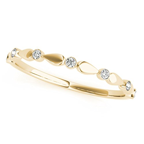 0.07 Carat Round Diamond Antique Wedding Band In 14K Solid Yellow Gold