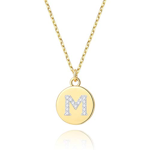 - BOUTIQUELOVIN 14K Gold Initial Necklace Cute Disc Personalized Alphabet M Letter Pendant Jewelry Gifts for Women Girls