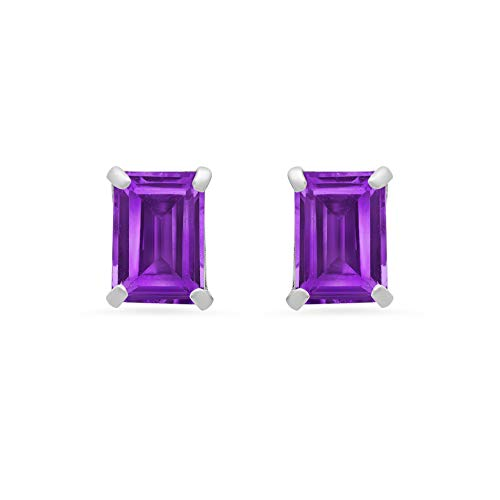 14k White or White Gold Solitaire Emerald-Cut Amethyst Stud Earrings (7x5mm)