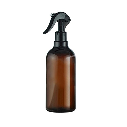 Polytree Empty Amber Plastic Spray Bottles with Black Trigger Sprayers, 500ML Refillable Container for Essential Oils, Cleaning Products, or (Oil 500 Ml Bottle)