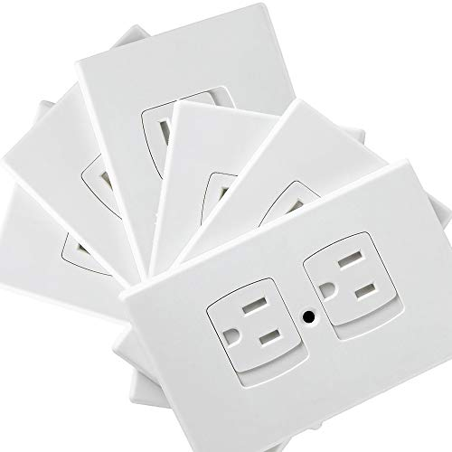 Baby Safety Self-Closing Electrical Outlet Covers   Alternative To Wall Socket Plugs Plate for Child Proofing   Automatic Sliding Guards Kit   House & Kitchen Protection Kit   BPA Free - 6 Pack, White