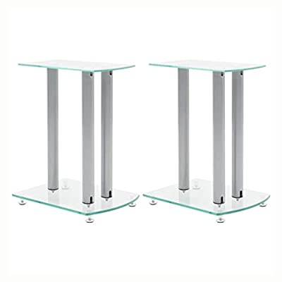 HomyDelight Speaker Stand & Mount, Aluminum Speaker Stands 2 pcs Transparent Safety Glass