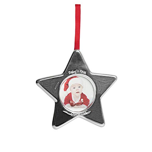 Tiny Ideas Holiday Keepsake Photo Ornament, Perfect Gift for Baby's First Christmas, or Creative Baby Shower Gift, Silver