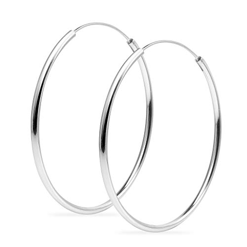 Sterling Silver Endless 55mm High Polished Round Lightweight Unisex Hoop Earrings | 2mm