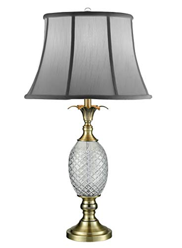 (Dale Tiffany SGT17041 Brass Pineapple 24% Lead Crystal Table Lamp Antique)