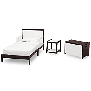 Delta Children Aster 3 Piece Toddler Room in-a-Box, White with Dark Chocolate