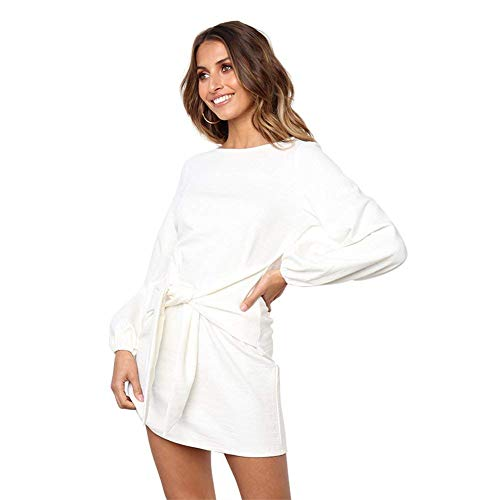 Soatrld Women's Loose Dress Casual Front Tie Long Puff Sleeve Solid Bandage Party Dresses (White, (Puff Sleeve Womens Dress)