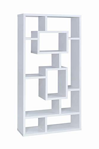 - 10-Shelf Rectangular Bookcase White