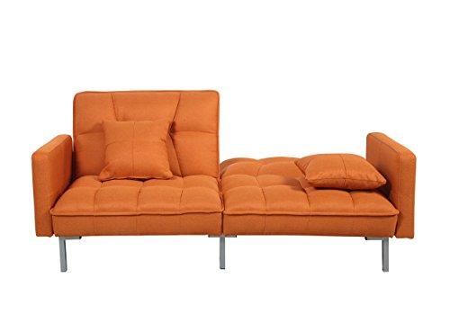 Divano Roma Furniture Collection Modern Plush Tufted Linen Fabric Splitback Living Room