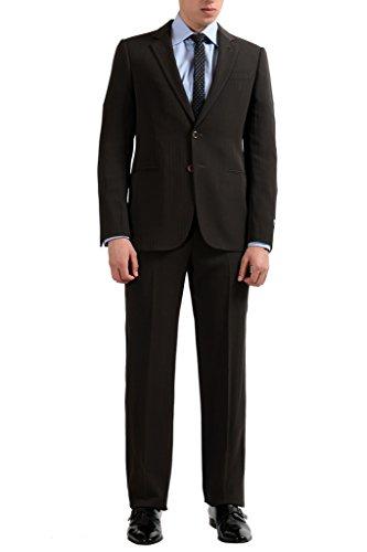 Armani Collezioni Men's Wool Brown Striped Two Button Suit US 38 IT 48;