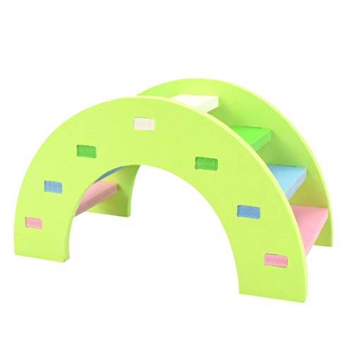 Gotian Hamster Toys Rainbow Bridge Guinea Pig Hamster Wooden Play Toy Physical Training Small Pet Toys (L, Green) ()