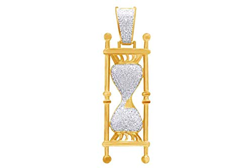 Price comparison product image Christmas Sale 1.5 Cttw Round White Natural Diamond Iced Out Hip Hop Jewelry Hourglass Charm Pendant In 14K Solid Yellow Gold