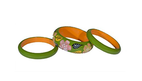 Bandwagon creations pack of 4 wooden bangles 2.6