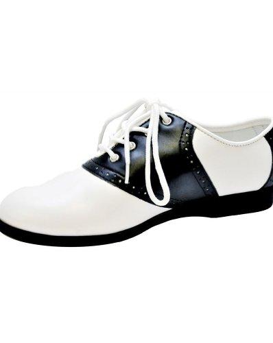 (Saddle Shoe Black and White Woman Shoes - Medium)