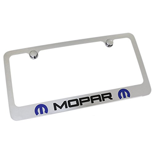 Mopar 2 Logo Chrome Metal License Plate Frame