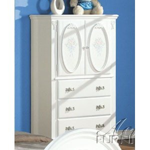 ACME 01667 Flora TV Armoire with Hanging Rod, White Finish - Flora White Finish