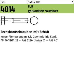 50 Sechskantschrauben ISO 4014 8.8 verzinkt M10x200