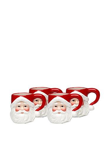Cosmos Gifts 10257 Ceramic Santa Mug, 4-1/8-Inch, Set of 4