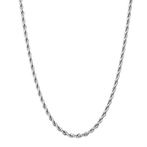 FEEL STYLE 3mm Stainless Steel Chain Necklace Twist Rope French Italian for Men Women 28 Inch -