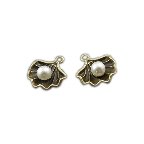 JulieWang 40pcs Antiqued Pearl in Shell Conch Charms Pendants for Jewerly Making (Antiqued Bronze)