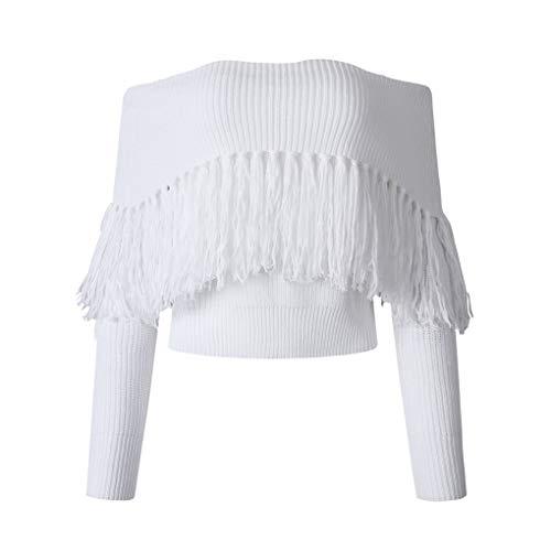 Spalle Ragazze White Delle Maglione Nappa Mengonee Pullover Casuale Donne Solid Ponticello Abito Maglieria wO8PXn0k
