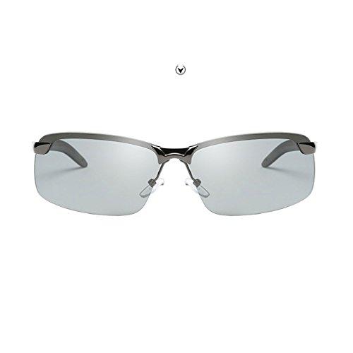 Gafas metálica hombres Color LX Lens de Gray nocturna vision Discoloration LSX sol Gafas para Gray night polarizadas visión de Frame frame conducción lens 5wq78xwOA