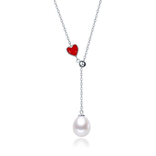 Pearl Heart Shape Pendant - Fine Jewelry Women Gifts for Women 925 Sterling Silver and Teardrop Pearl Pendant Necklace Red Heart Shape