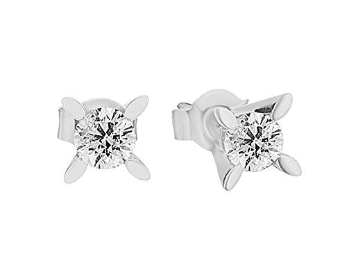 Birgie Diamants et Bijoux - Boucles d'Oreilles Diamant Solitaire 0.81 Carat-Femme- or Blanc 201E0065