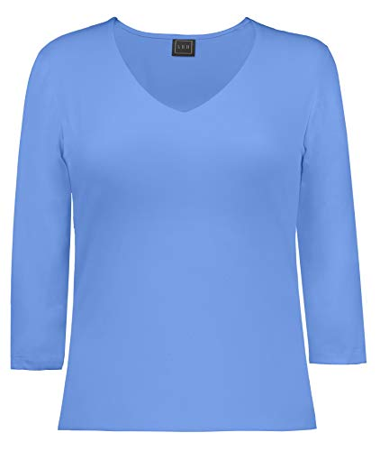 - LBH Women's 3/4 Sleeve V-Neck Top L VIS-Vista Blue