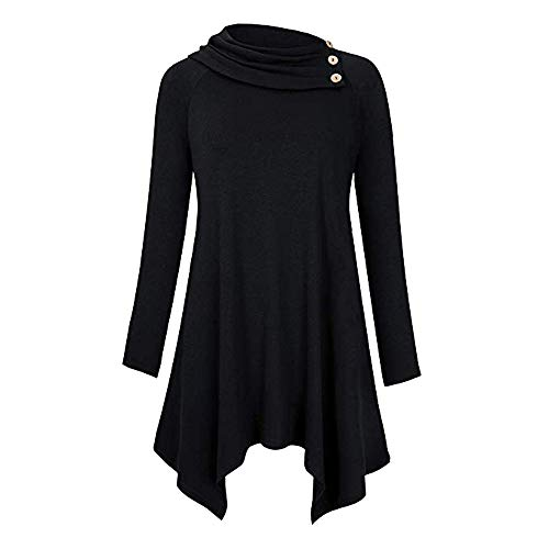 (Women's Solid Cowl Neck Raglan Long Sleeve Casual Tunic Blouse)
