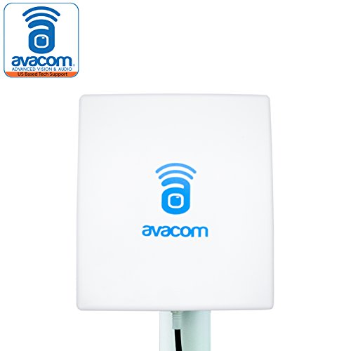 (AVACOM Long Range WiFi Extender Panel Antenna for Wireless IP Camera and Router 2.4GHz 14dBi Directional Antenna 802.11b/g/n, RP-SMA Male Connector with Adapter)
