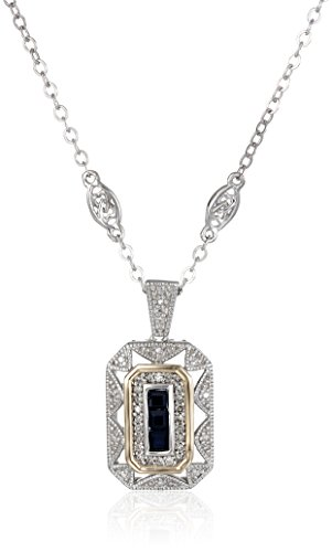S&G Sterling Silver and 14k Yellow Gold Blue Sapphire with Diamond-Accent Art Deco Style Necklace (0.12 cttw, I-J Color, I2-I3 Clarity), 18'' by Amazon Collection