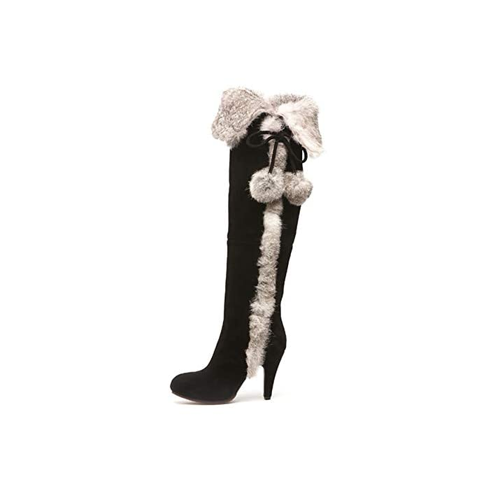 Hoesczs 2018 Real Fur Cow Suede Leather Winter Shoes Boots Woman High Heels Party Women's