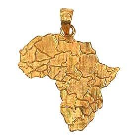 18K Egyptian Jewelry Pendants - Africa Map