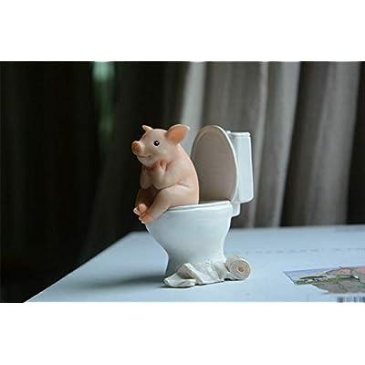 Amusing Toilet Pig Statue Figurine Ornament Home Garden Lawn Decor : Garden & Outdoor