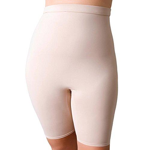 La Isla Women's Seamless High Waist Slim Tummy Control Brief Shaper Shapewear with Leg Beige 1X (14W-16W)